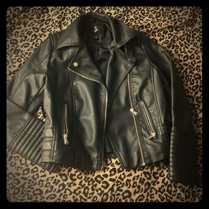 Girl faux leather jacket